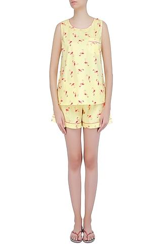Yellow and Coral Flamingo Printed Shirt and Shorts Set by Dandelion