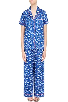 Blue Cycle Printed Nightsuit Set by Dandelion