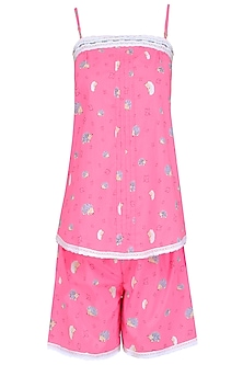 Pink Porcupine Printed Camisole and Shorts Set by Dandelion