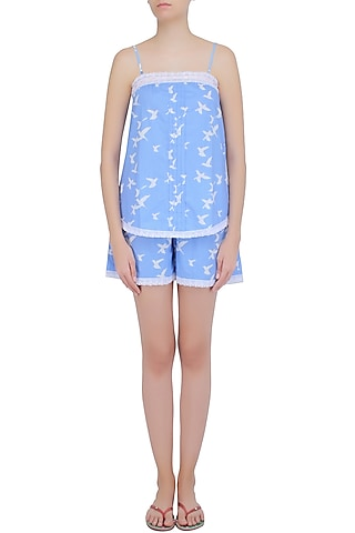 Blue and White Dove Printed Camisole and Shorts Set by Dandelion