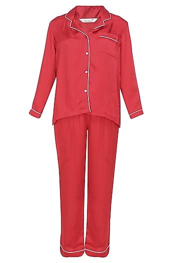 Red satin nightsuit set by Dandelion