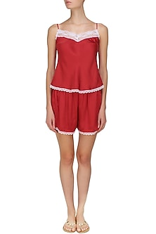 Red satin camisole and shorts set by Dandelion