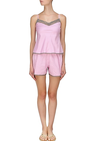 Pink and grey satin camisole and shorts set by Dandelion