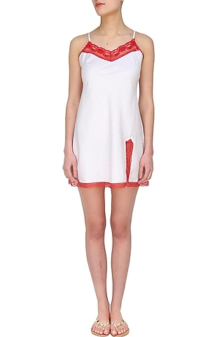 White and red camisole night wear dress by Dandelion