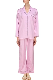 Pink and grey dot printed nightsuit set by Dandelion