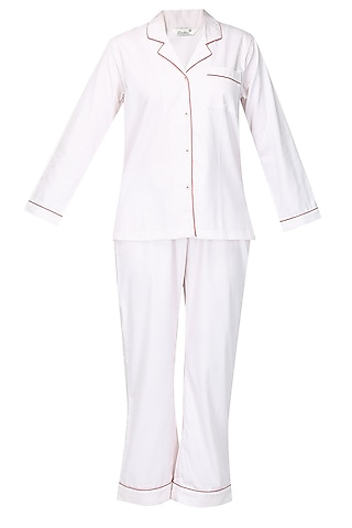 White and red dot printed nightsuit set by Dandelion