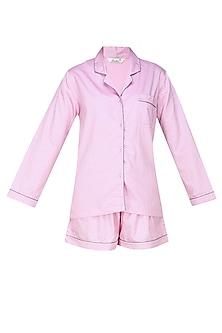 Pink and grey dot printed shirt and shorts set by Dandelion