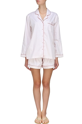 White and red dot printed shirt and shorts set by Dandelion