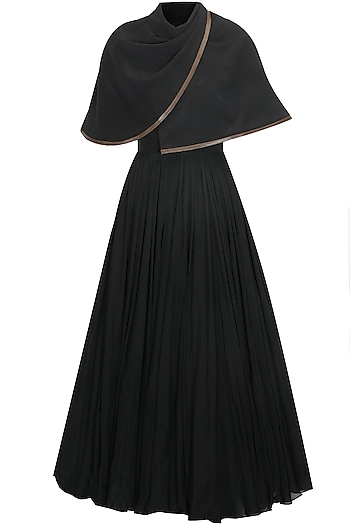 Black shawl cape pleated gown by Deepankshi And Reena