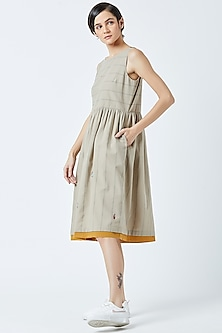 Beige Embroidered & Printed Dress by Doodlage