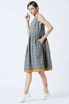 Grey Embroidered & Printed Dress by Doodlage