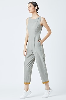 Grey Embroidered & Printed Jumpsuit by Doodlage