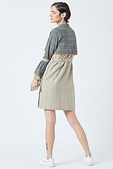 Beige Printed Striped Dress With Grey Jacket by Doodlage