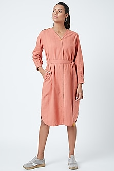 Peach Printed Striped Tunic With Belt by Doodlage