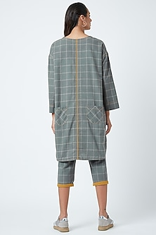 Grey Checkered Printed Tunic by Doodlage