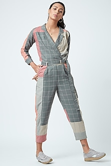 Grey Checkered Printed Jumpsuit by Doodlage