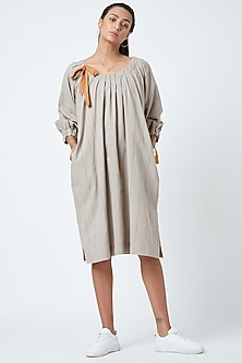 Beige Printed Striped Pleated Dress by Doodlage