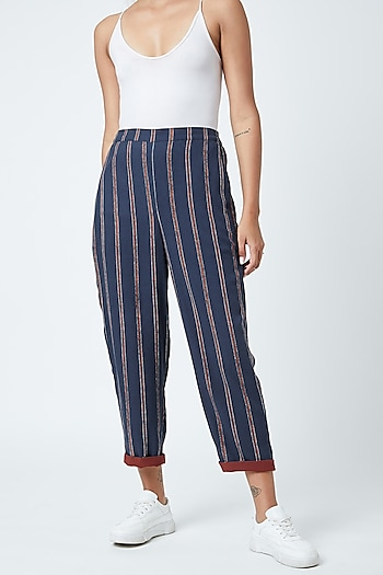 Cobalt Blue Printed Striped Highwaisted Pants by Doodlage