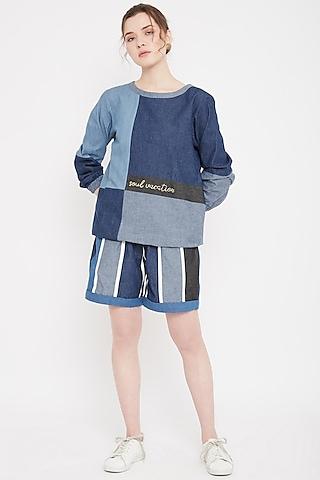 Cobalt Blue Embroidered Sweatshirt by Doodlage