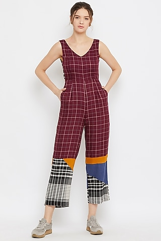 Red Pleated Tie-Up Jumpsuit by Doodlage