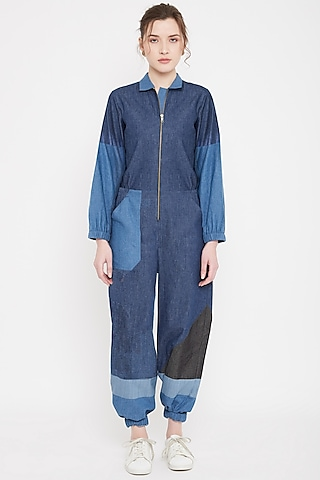 Cobalt Blue Patchwork Denim Jumpsuit by Doodlage
