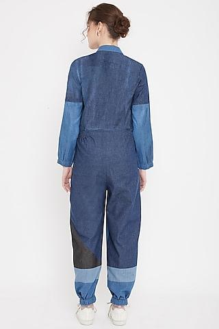 Cobalt Blue Patchwork Denim Jumpsuit by Doodlage