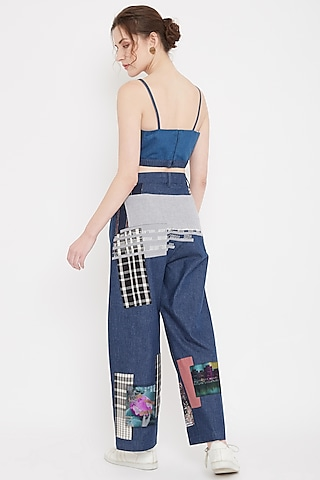 Cobalt Blue Patch Work Pants by Doodlage