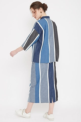Blue Patchwork Denim Skirt by Doodlage