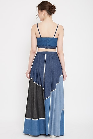 Cobalt Blue Pleated Panelled Skirt by Doodlage