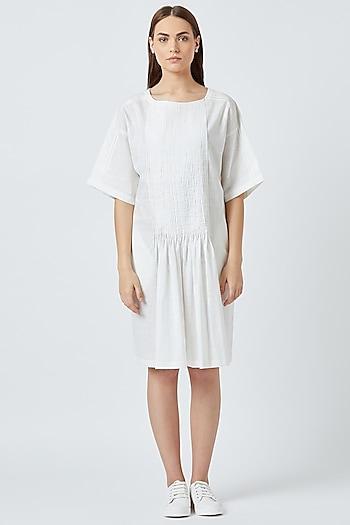 White Dress With Handmade Tucks by Doodlage