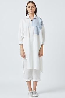 White Oversized Tunic With Slits by Doodlage
