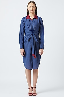Blue Shirt Dress With Belt by Doodlage