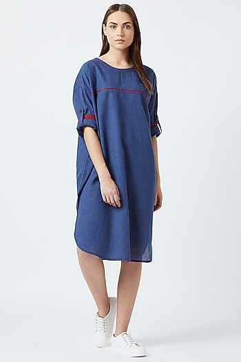 Blue Oversized Dress With Piping by Doodlage