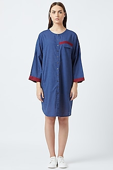 Blue Open Shirt Dress With Gathers by Doodlage