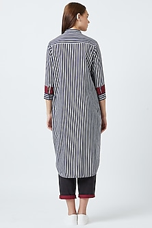 Blue Striped Tunic With Inner Layer by Doodlage