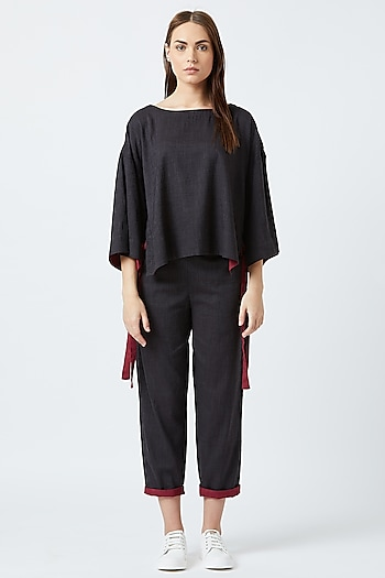 Black Pants With Red Detailing by Doodlage