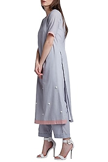 Grey Embroidered Tunic With Pants by Doodlage