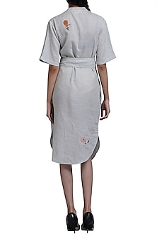 Grey Embroidered Pleated Dress by Doodlage