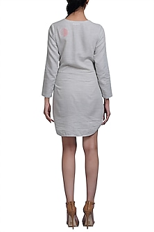 Grey Embroidered Tie-Up Dress by Doodlage