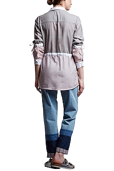 Grey & Pink Panelled Shirt by Doodlage