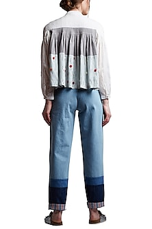 Grey Pleated & Embroidered Shirt by Doodlage