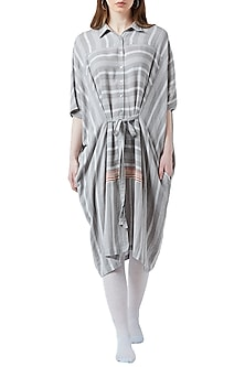 White & Grey Embroidered Striped Dress by Doodlage