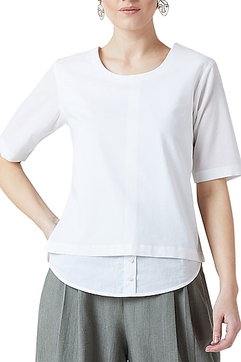 White Cotton Top by Doodlage