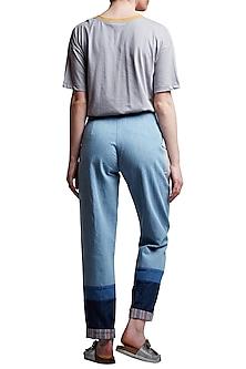 Blue Embroidered Denim Pants by Doodlage