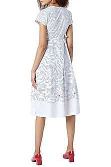 White Printed & Embroidered Wrap Dress by Doodlage