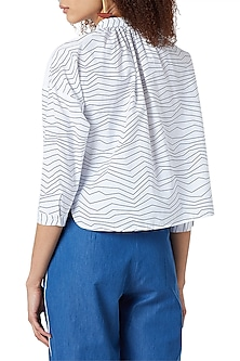 White Handcrafted Printed Striped Shirt by Doodlage