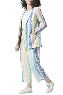 Multi Colored Stripe Printed Pants by Doodlage