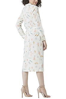 White Printed Overlap Dress by Doodlage
