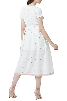 White Pleated Wrap Dress by Doodlage