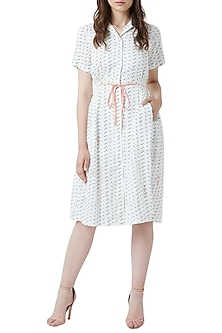 White Embroidered Button Down Dress by Doodlage